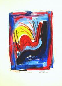 Sunrise 2, abstrakte Kunst, gouache on handmade paper,